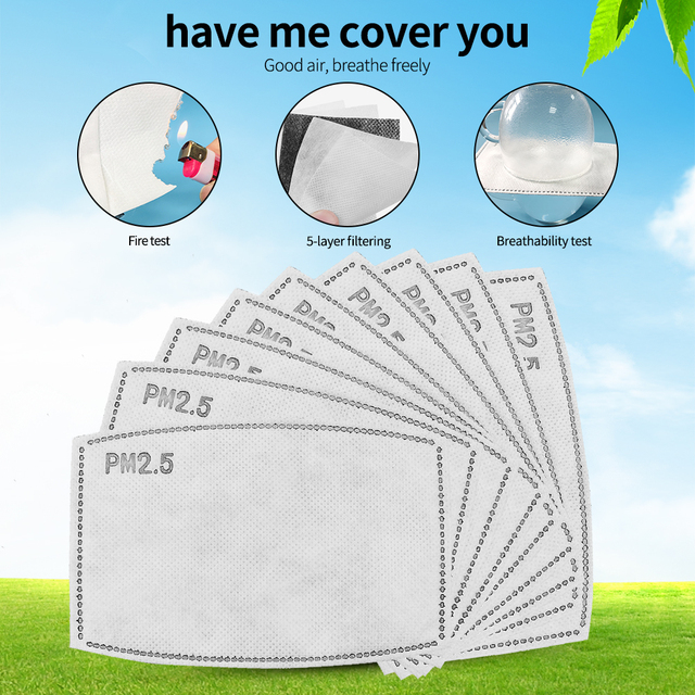 2/20/50pcs PM 2.5 Face Mask Filter Dust Anti Haze 5 Ply 95 Activated Carbon Filter Adults Mouth Masks Protection Respirator FPP2 1