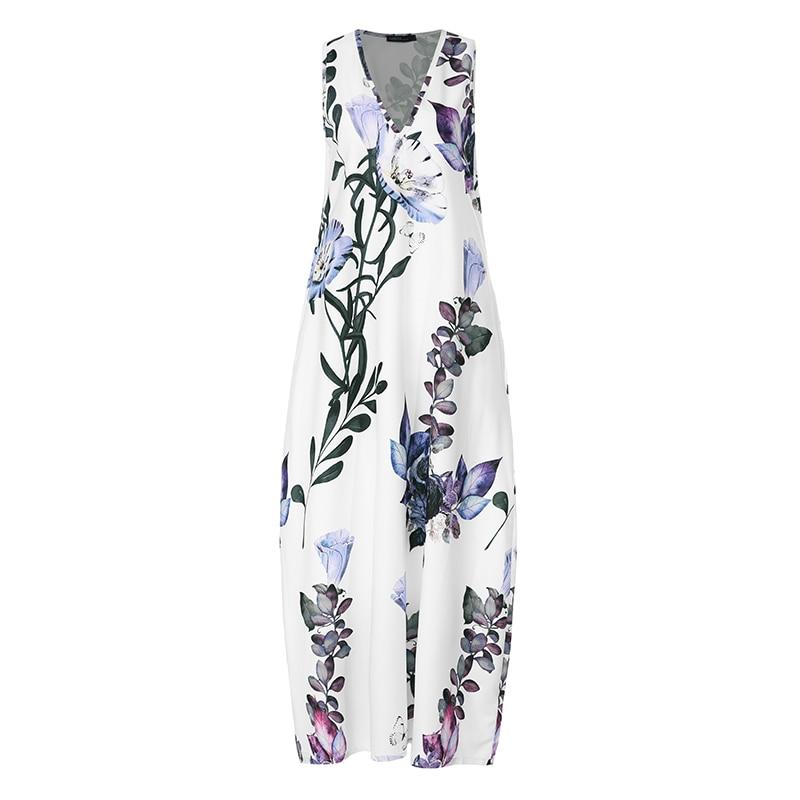 ZANZEA 2019 Fashion Summer Sundress Women Long Maxi Vestidos Floral Printed Bohemian Dress Ladies Casual Pockets Long Tunic Robe 5