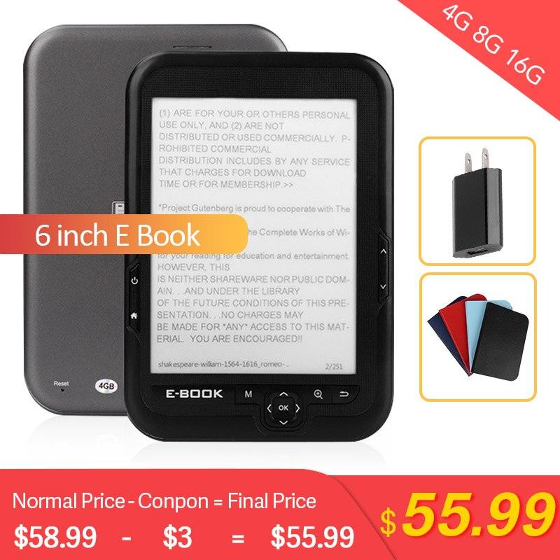 CLATE 6 pouces Ebook lecteur e-ink capacitif e livre lumière Eink écran E-Book e-ink E-Reader MP3, WMA PDF HTML