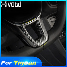 Hivotd For VW tiguan Mk2 2019 Chrome Carbon fiber Car steering wheel trim Car Sticker Interior Mouldings Car Styling Accessories цена