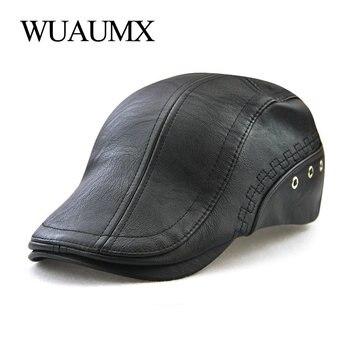Wuaumx PU Leather Beret Hat For Men Autumn Winter Warm Newsboy Cap Men's Berets Duckbill Visor Peaked Hats Cabbie Ivy Flat Cap