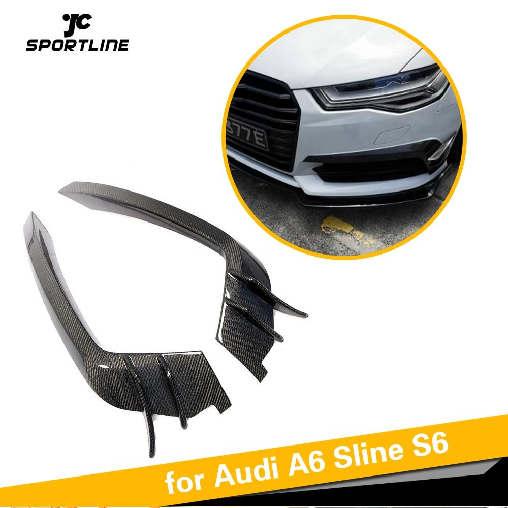 Pour Audi A6 C7 Sline S6 2015-2018 voiture avant pare-chocs Air évent garde-boue garniture diviseurs en Fiber de carbone Canards accessoires