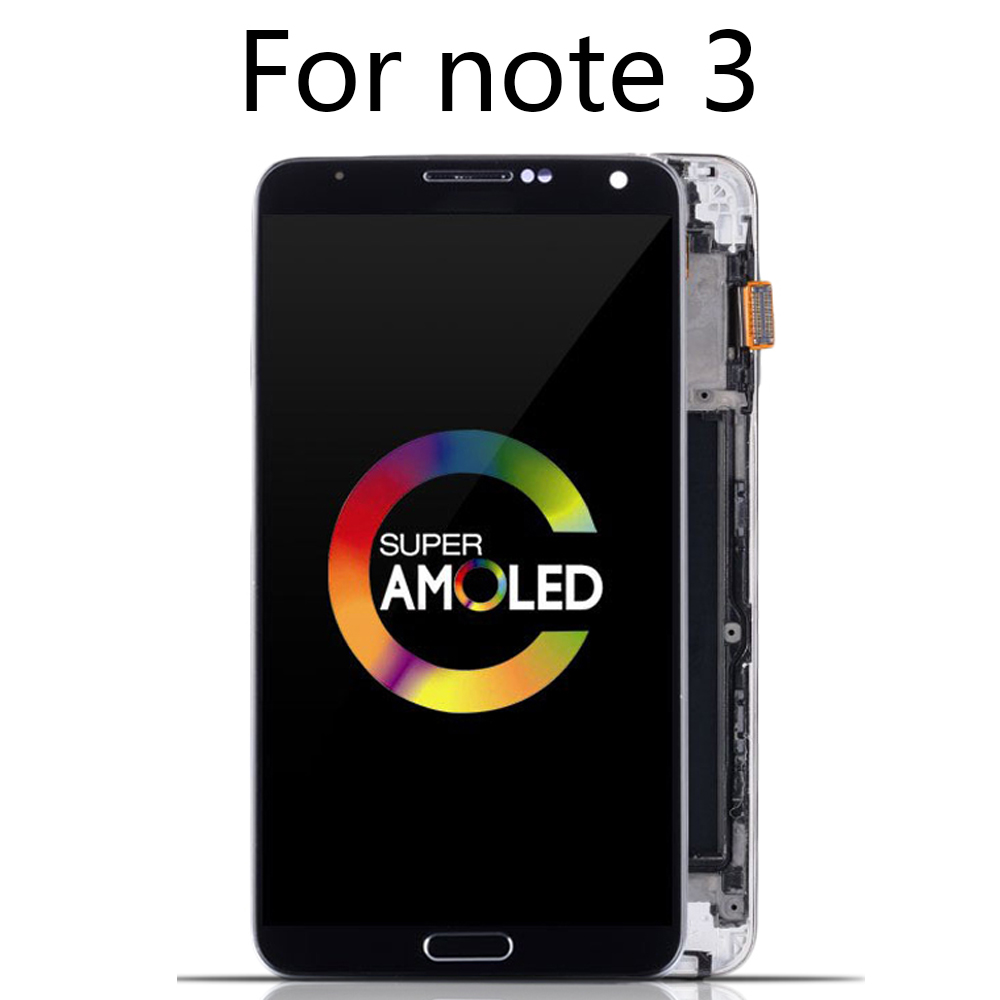 Original Super AMOLED LCD For SAMSUNG GALAXY Note 3 LCD Display N9005 N900A N900T LCD Touch Screen Digitizer Assembly With Frame
