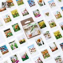Stationery Stickers Tulip-Season Albums Decorative Washi-Seal-Label Flower Diary Diy Scrapbooking