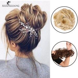 XUANGAUNG женский кудрявый пучок синтетические волосы пучок для наращивания вьющиеся грязные волосы пучок эластичный пучок