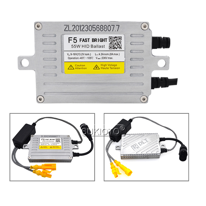 SUKIOTO AC 12V HID DLT Xenon Ballast 55W F5 Fast Start Slim Block Ignition For Car Headlight H1 H3 H7 H8 H11 HID Coversion Kit (3)