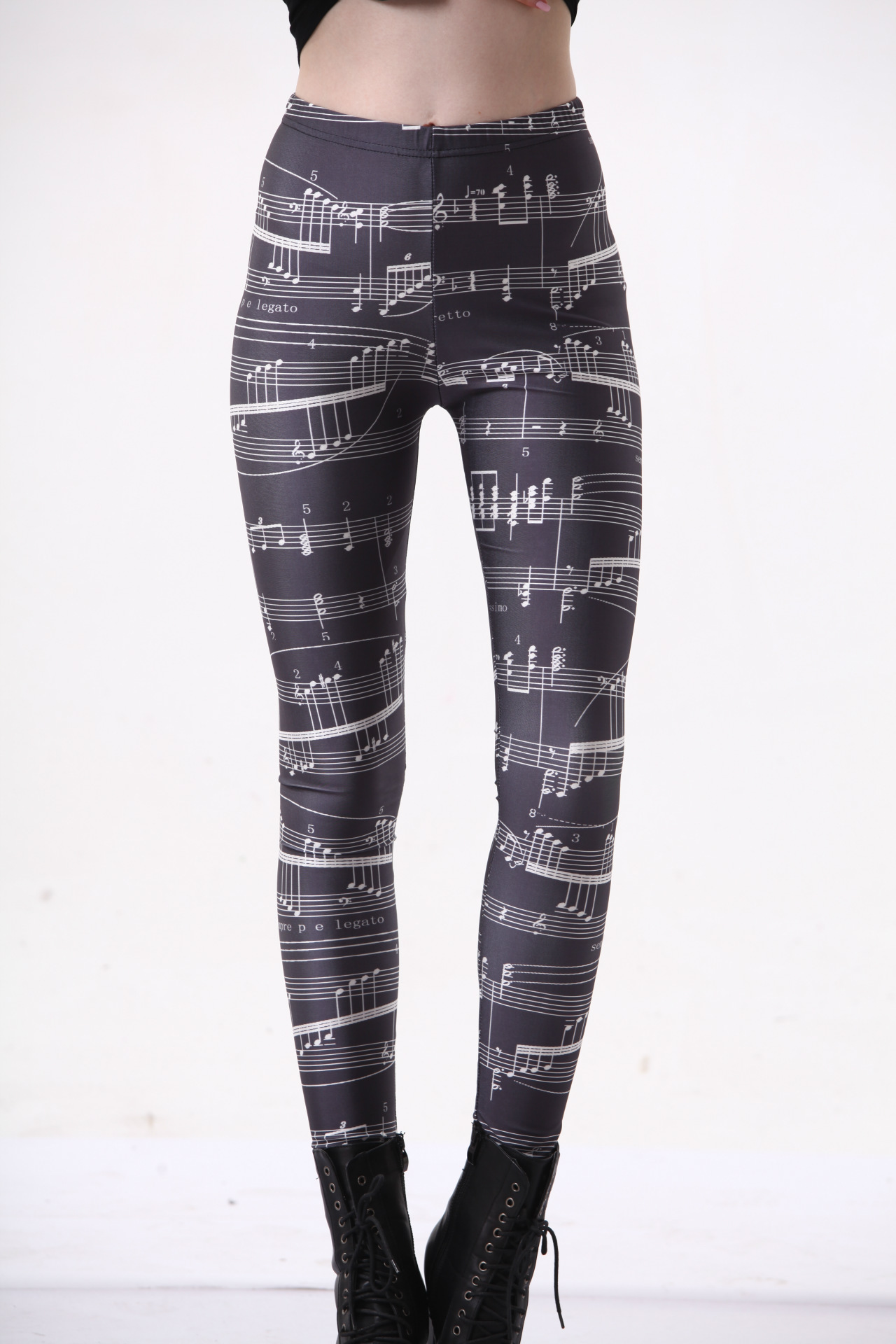 Foreign Trade In Europe And The United States Hot Star Digital Printing Wholesale And Retail Musical Notation Sexy Leggings