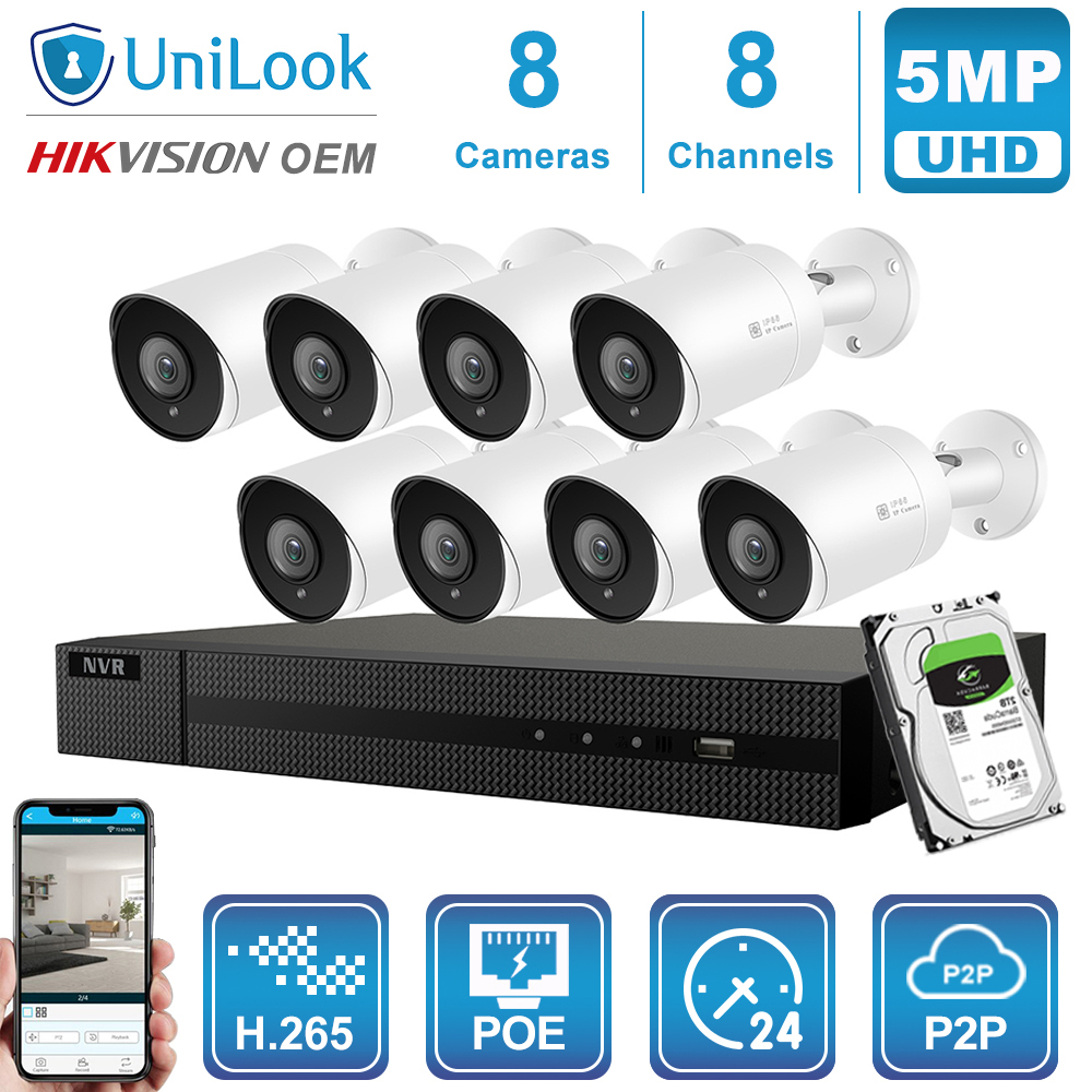Hikvision OEM 8CH 4K NVR 5MP Dome/Bullet Mixed POE IP Camera 4/6/8PCS Outdoor Security H.265 ONVIF CCTV NVR Kit With 1/2/4TB HDD