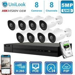 Hikvision OEM 8CH 4K NVR 5MP Dome/Bullet mieszana kamera POE IP 4/6/8 sztuk bezpieczeństwo zewnętrzne H.265 ONVIF CCTV zestaw monitoringu NVR z 1/2/4TB HDD