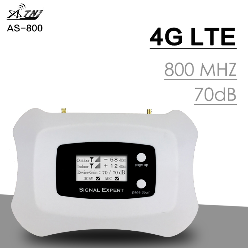 4G LTE 800 Network Signal Repeater Band 20 LCD Display 70dB Gain Band 20 4G LTE Cellphone Signal Amplifier LTE 800 MHz Booster