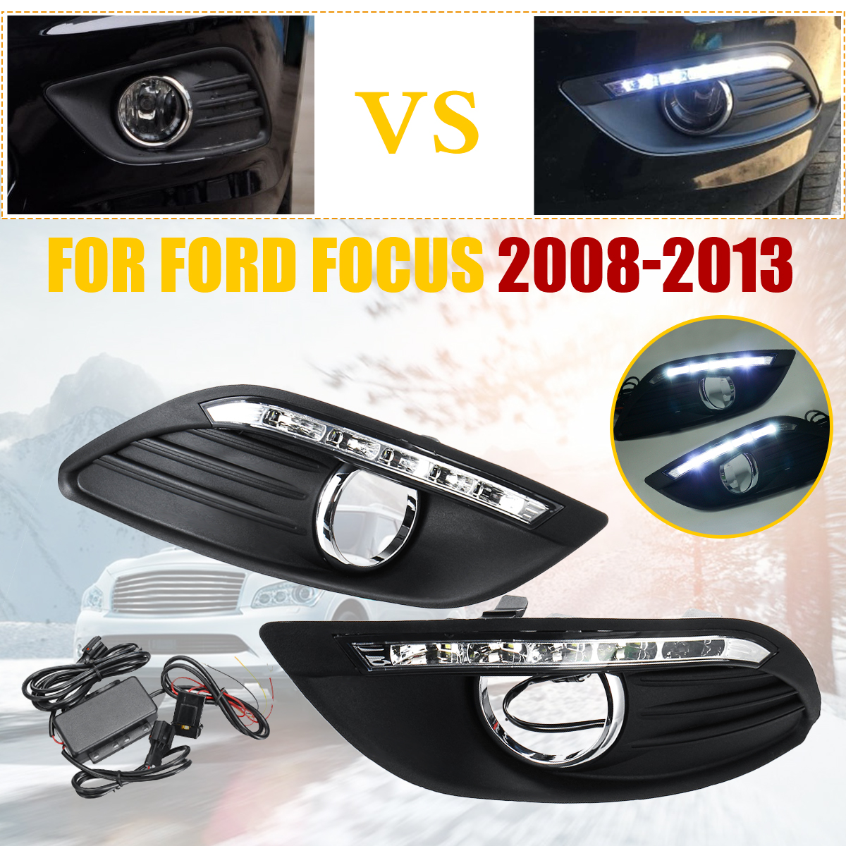Pair Car LED DRL Front Driving Lamp Foglight Daytime Running <font><b>Light</b></font> White Yellow For <font><b>Ford</b></font> <font><b>Focus</b></font> 2008 2009 2010 2011 <font><b>2012</b></font> 2013 image