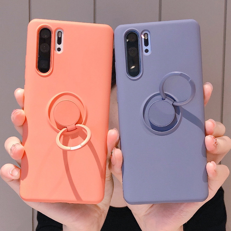 Luxury Soft Silicone Metal Ring Case For Huawei P30 Lite Pro P30Lite Shockproof Armor Silicon Cover Accessories funda coque etui in Fitted Cases from Cellphones Telecommunications