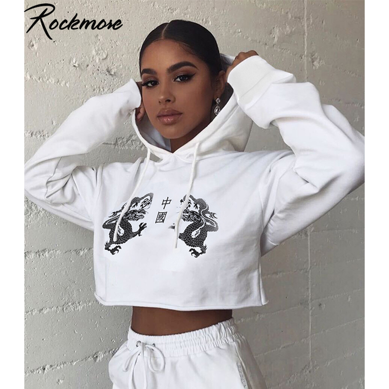 Rockmore White Chinese Character Dragon Print Hooded Sweatshirts Womens Hoodie Plus Size Streetwear Cropped Hoodies Fall Femme