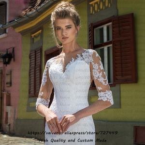 Image 3 - Vestido Novia ארוך רכבת הכלה שמלת כלה בוהמית שמלות עם שרוולים רומנטי תחרה בת ים חתונה שמלה 2020 Robe Mariage
