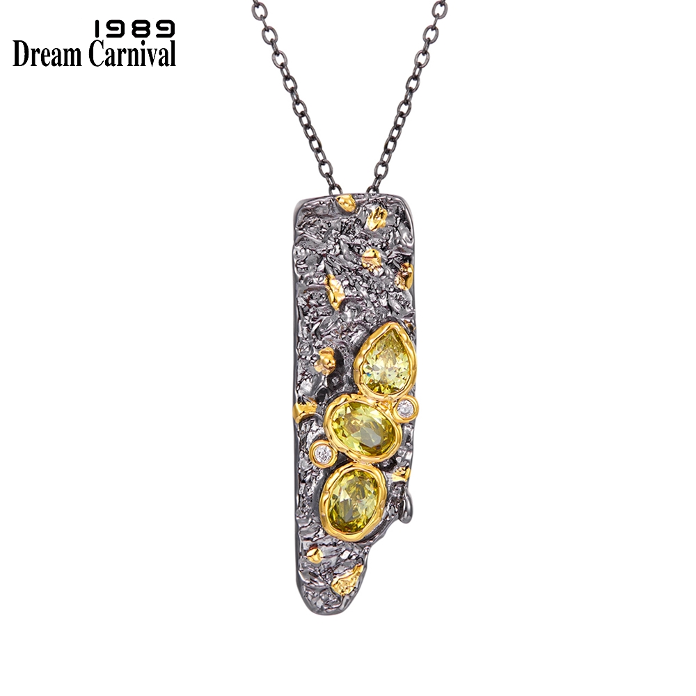 DreamCarnival1989 New Stone Age Collections Gothic Pendant Necklace for Women Black Gold Color Vintage Unique Olivine CZ WP6672(China)