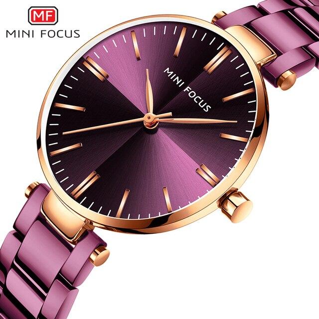Mini focus 유명 브랜드 쿼츠 시계 reloj mujer 럭셔리 여성 패션 캐주얼 시계 stainles 스틸 레이디 아날로그 시계 방수