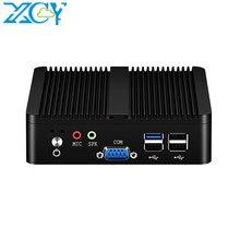 XCY Mini PC sem ventilador Intel Celeron j1900 Win Windows 10 7 Linux Thin Client Minipc Pfsense Micro 2 Lan Port Tv Desktop Computadores de mesa J1800 N2810 N2815 N2930 Pentium J2900 Computador DDR3L Industrial USB3.0