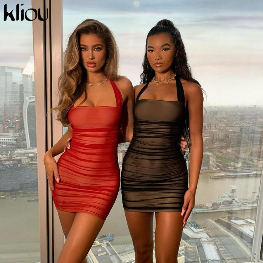 Kliou Stacked Mesh Solid Bodycon Dresses Sleeveless Sexy Halter Women Clubwear Night Party Ruched Skinny Slim Mini Dress 2021|Dresses| - AliExpress