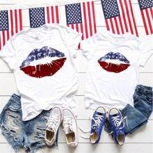 Футболка Мужская/женская рубашка с принтом губ семейного Дня
