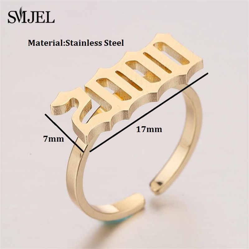 SMJEL Old สแตนเลสหมายเลขแหวนสำหรับผู้ชายผู้หญิง 1980 1983 1996 2000 ปีปฏิทินแหวนวันที่ปรับ anel 2019