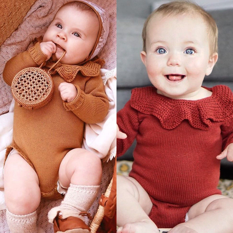 Newborn Baby Sweater Bodysuits Infant Girls Boys Knit Winter Warm Jumpsuits Outfits Set Princess Little Kids Clothes Costumes