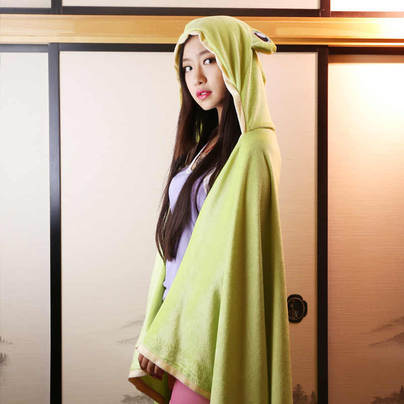 Railgun Misaka Mikoto Gekota Frog Cosplay Hooded Blanket Kids Plush Capes Cloaks