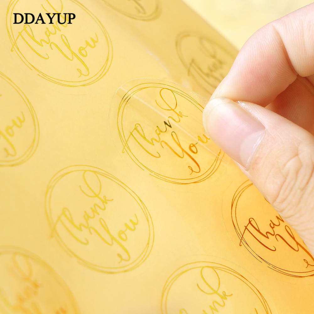 Купить с кэшбэком 120Pcs/Lot Round Transparent Design Thank You Seal Stickers DIY Deco Gift Sticker Label Stationery Supplies