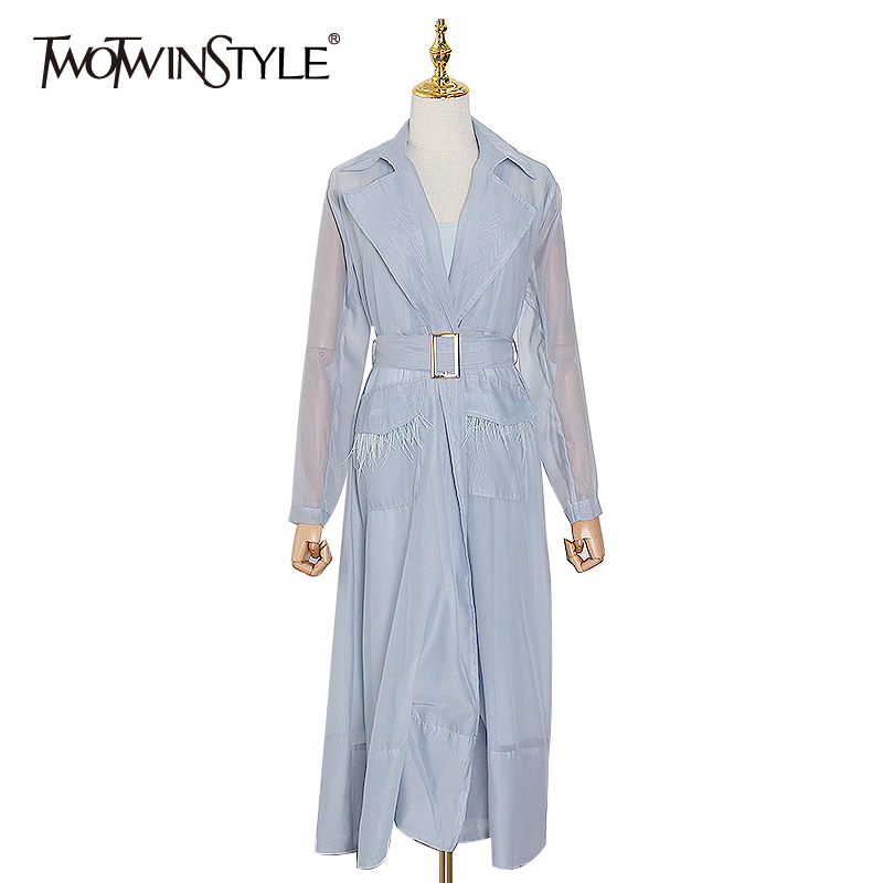 TWOTWINSTYLE Elegant Perspective Women's Dress Notched Long Sleeve High Waist With Sashes Female Dresses 2020 Spring Fashion New