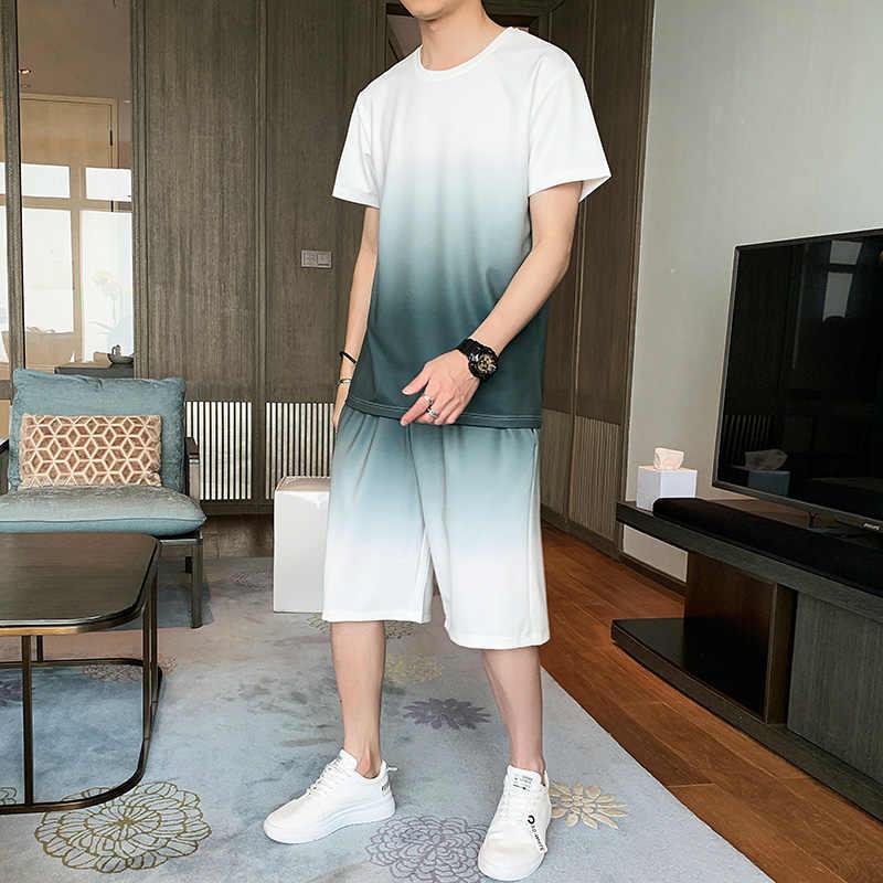 Homens treino t-shirts topo + shorts moda duas peças conjunto masculino casual verão novos conjuntos de roupas masculinas roupas esportivas plus size 4xl