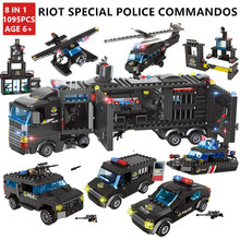 1095Pcs City SWAT Vehicle Car Helicopter ARMY Building Blocks LegoINGLs Technic Bricks Playmobil Educational Toys for Children city police swat helicopter car building blocks compatible legoingls brinquedos bricks playmobil educational toys for children