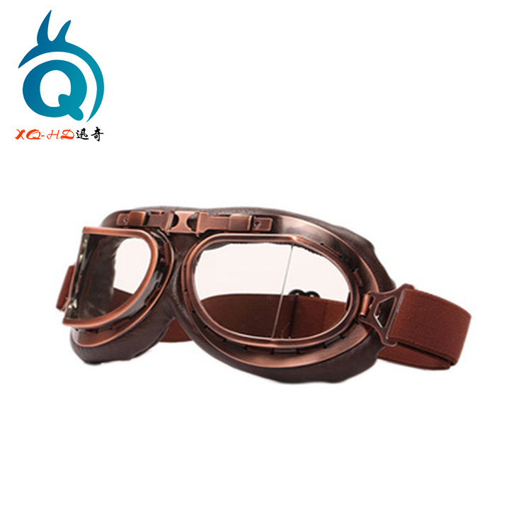 Motorcycle Wind-proof Glasses Riding Off-road Eye-protection Goggles Retro Copper Plating Mask Harley Cool Hide Substance Knight