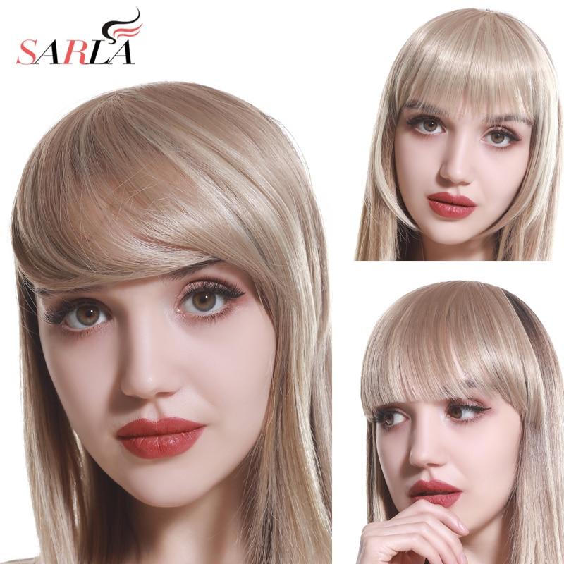 SARLA cheveux Frange pince en Frange fausse fausse Frange Extensions de perruque naturel synthétique postiche cheveux pièce instantanée noir marron B2