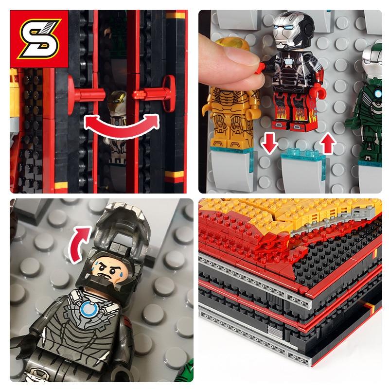 Горячие идеи создателя супер герой Железный человек книжная коробка база Gnaku зал доспехов фигурки строительные блоки Наборы комплекты кирпичей детские игрушки город - 5