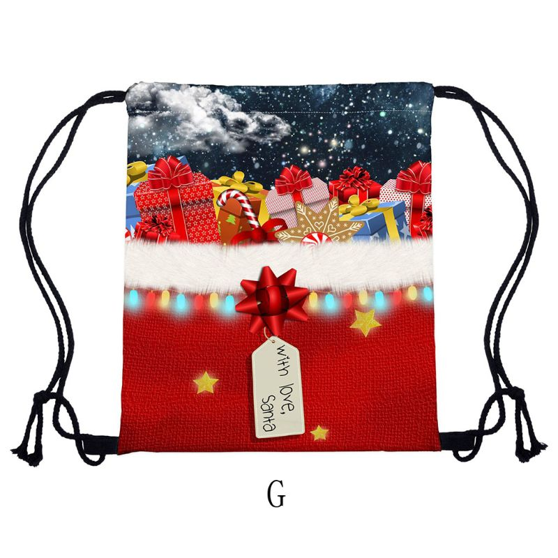 2019 Women Christmas Backpack Drawstring Shopping Bags Travel Party Decoration