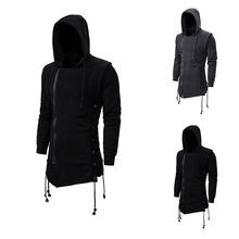 Assassin Creed Sweatercoat Dark Tie Hooded Loose Coat Zipper Hoodie with Side Lashing Crossed Black Dark Grey Hoodies Men