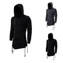 قاتل العقيدة Sweatercoat الظلام التعادل مقنعين معطف فضفاض قلنسوة بسحاب مع الجانب جلد عبرت أسود رمادي داكن هوديس الرجال
