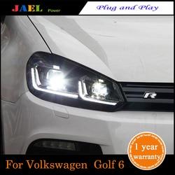 LED Headlight For Golf 6 MK6 Headlight 2009-2013Year Headlights LED DRL Running lights Bi-Xenon Beam lights angel eyes