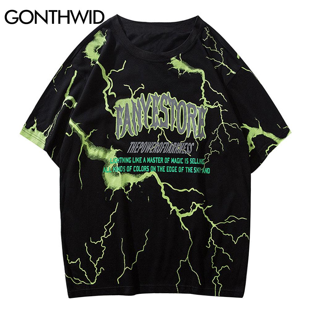GONTHWID Oversized Tshirts Streetwear Hip Hop Lightning Print Punk Rock Gothic Tees Shirts Harajuku Casual Short Sleeve Tops