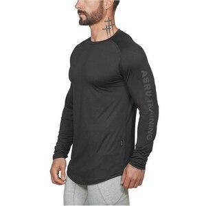 Мужская Осенняя футболка с длинным рукавом, для фитнеса, бодибилдинга, дышащая, эластичная, тонкая, с принтом на руку, светоотражающий Топ