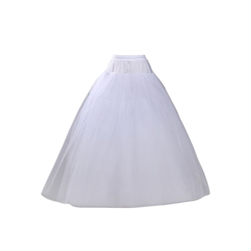 4-layer Hoop-free Long Style Half Skirt Petticoat Bridal Wedding Dress Lined Ladies Women Party Dresses Role-playing Lining