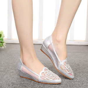 Image 5 - STAN SHARK New Womens Summer Fish Mouth Wedge Sandals Shoes Rhinestones OL Hollow Net Shoes