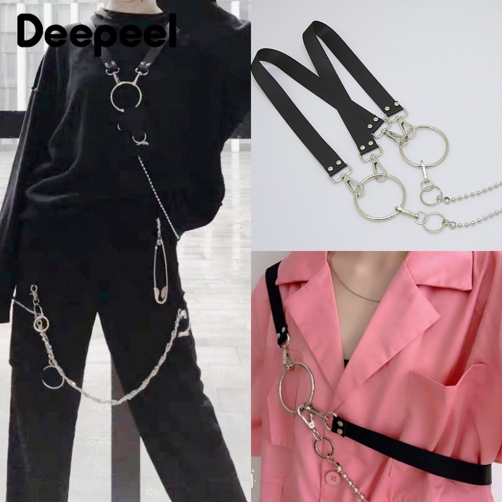Deepeel 1pc 3*100-110cm Unisex Black Metal Chain Suspenders Punk Hip-hop Trendy Straps Y-Back Braces Adjustable Suspenders SP600