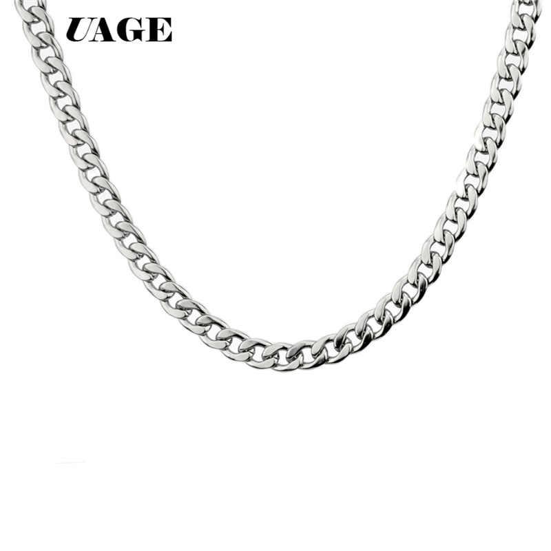 UAGE srebrny złoty wypełniony stałe naszyjnik łańcuchy Link mężczyźni Choker ze stali nierdzewnej mężczyzna kobieta akcesoria moda 2018
