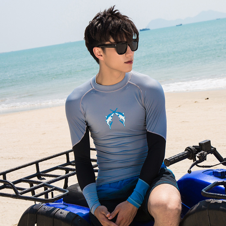 New Style Men Two-piece Swimsuits Beach Holiday Long Sleeve Seaside Sun-resistant Tops Snorkeling Surfing Swimwear