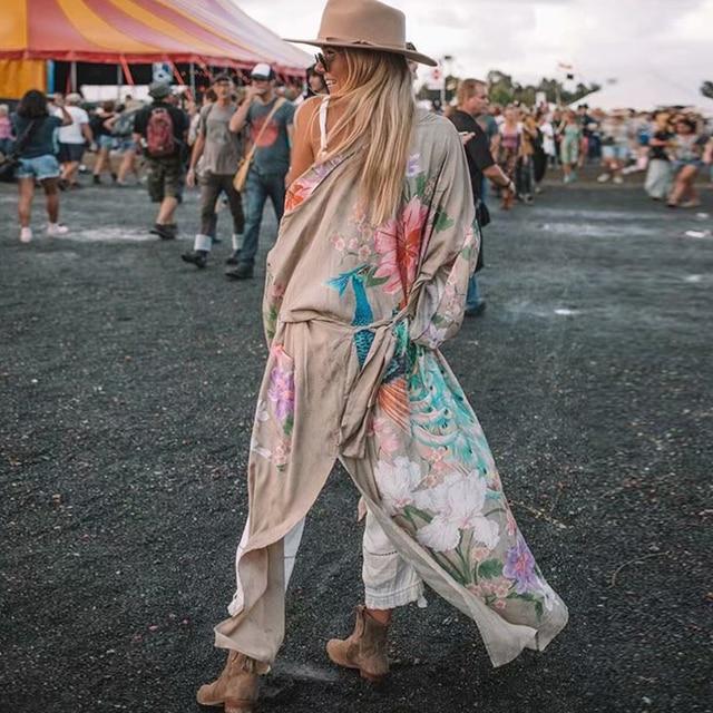 AYUALIN Kimono sleeve robe Kaftan Khaki Floral print Boho cardigan sexy Side Slits Gypsy beach summer long women blouses blusas 1