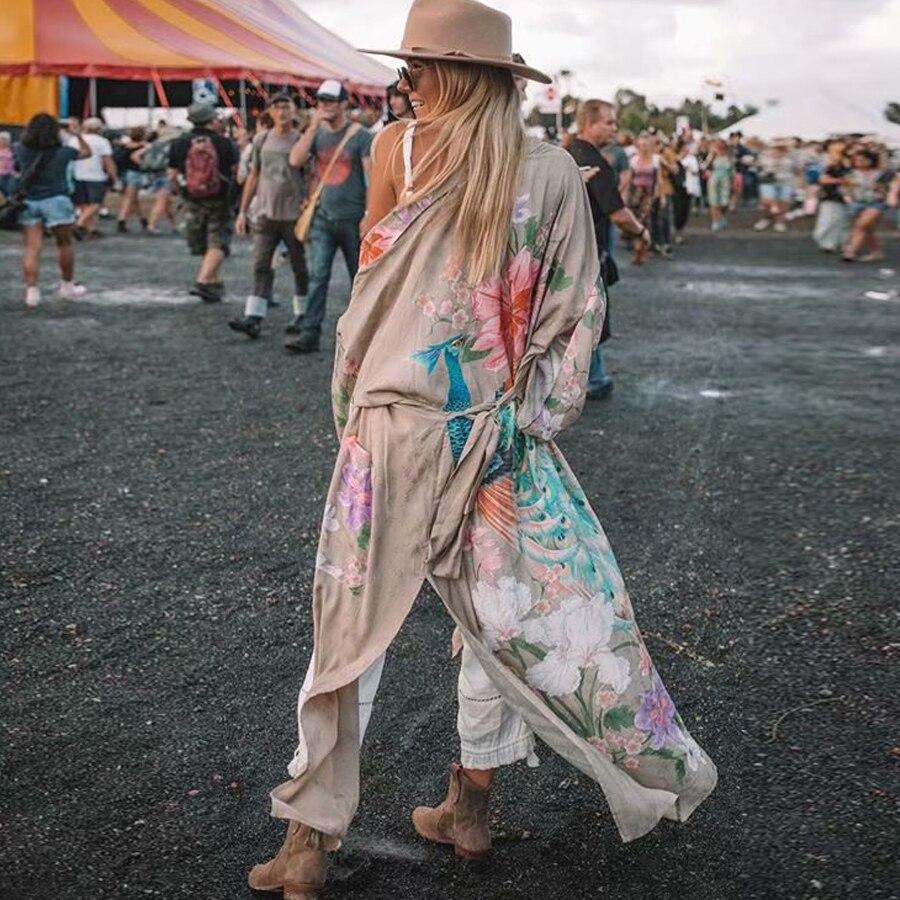 Big SaleóAYUALIN Boho Cardigan Robe Kaftan Kimono-Sleeve Women Blouses Gypsy Floral-Print Khaki