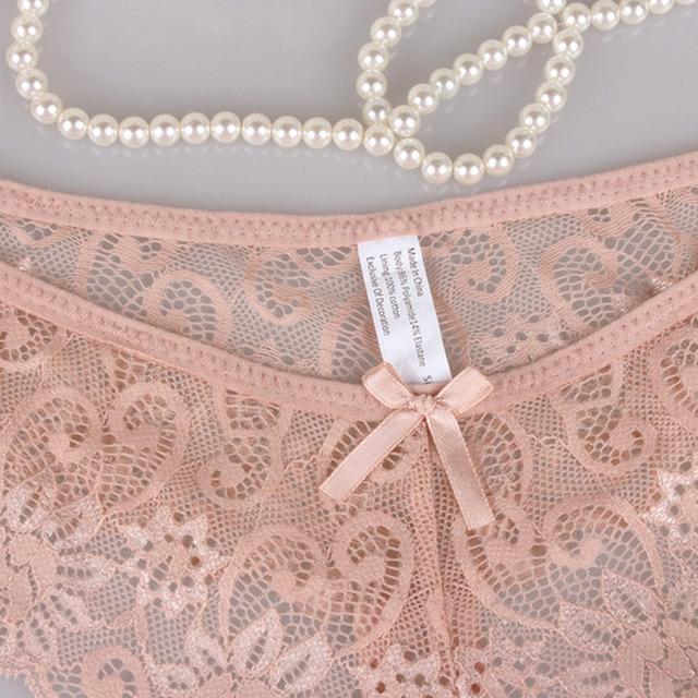 Sexy Lace Panties Bowtie Panties Female Floral Lace Women Lingerie Breathable Briefs Low Waist Transparent Underwear 1/2pcs