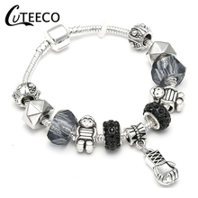 CUTEECO Punk Gym Boxing Gloves Charm Bracelets With Geometric Beads Brand & Bangle For Women Accessories