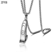 ZFVB Vintage Hair Clipper Razor Necklace Men Jewelry 316L Stainless steel Punk Male Hairdressing tools Pendant Necklaces Party