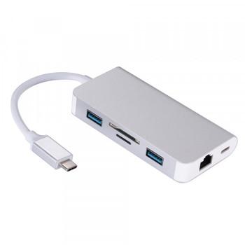 HUB 6 w 1 typ C USB huby 3 0 Type-C-2xUSB3 0 RJ45 SD Micro SD Port ładowania PD adapter na kabel do konwertera dla ordin tanie i dobre opinie wewoo None USB 2 0